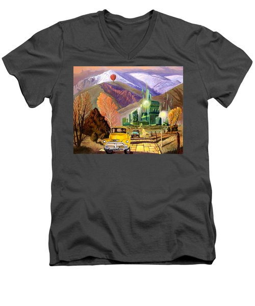 Men's V-Neck T-Shirt featuring the painting Trucks In Oz by Art James West