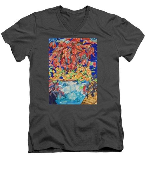 An Autumn Floral Men's V-Neck T-Shirt by Esther Newman-Cohen
