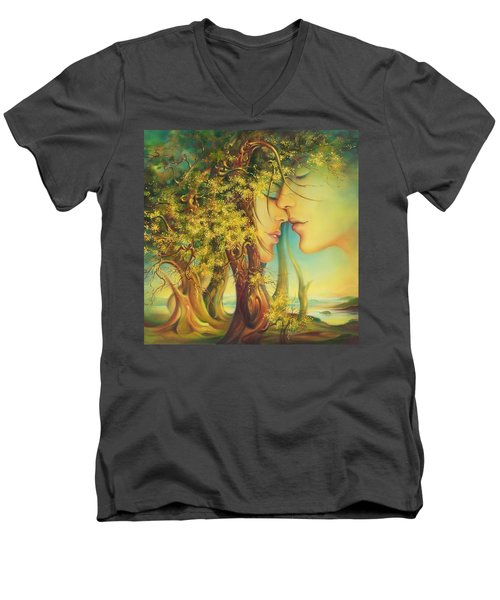 An Encounter At The Edge Of The Forest Men's V-Neck T-Shirt
