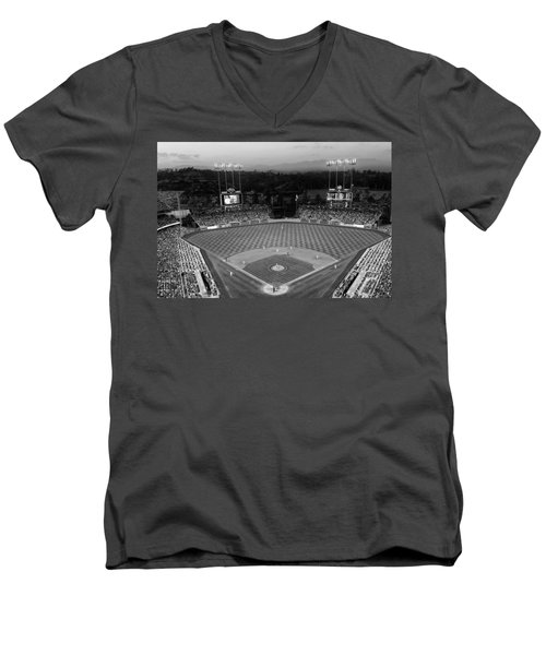 An Evening Game At Dodger Stadium Men's V-Neck T-Shirt