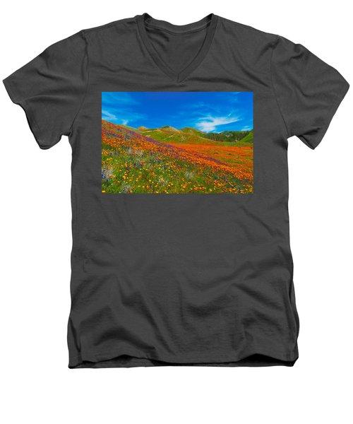 An Ocean Of Orange  Men's V-Neck T-Shirt by Lynn Bauer