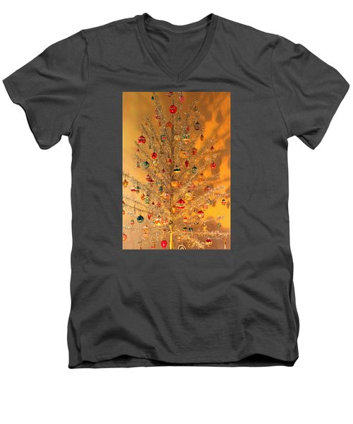 An Old Fashioned Christmas - Aluminum Tree Men's V-Neck T-Shirt by Suzanne Gaff