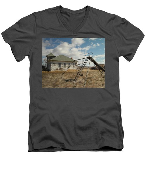 An Old School Near Miles City Montana Men's V-Neck T-Shirt by Jeff Swan