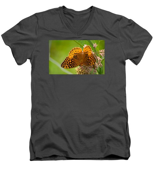 Men's V-Neck T-Shirt featuring the photograph Great Spangled Fritillary by Rima Biswas