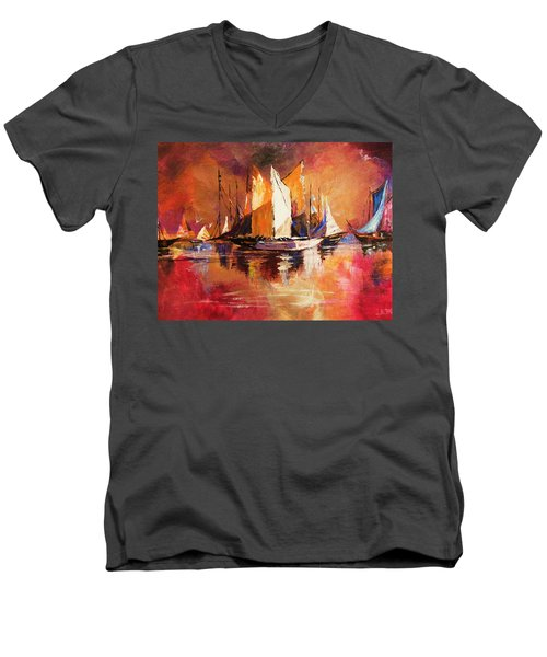 Anchored At Sunset Men's V-Neck T-Shirt