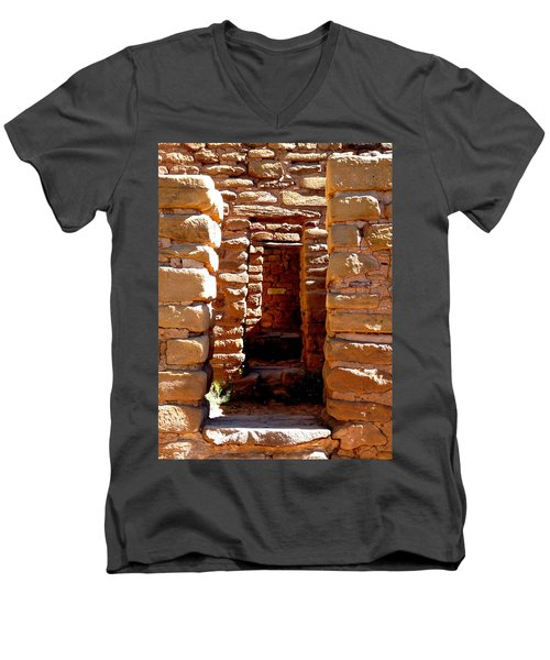 Men's V-Neck T-Shirt featuring the photograph Ancient Doorways by Alan Socolik