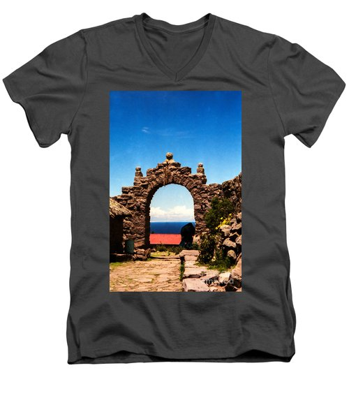 Men's V-Neck T-Shirt featuring the photograph Ancient Portal by Suzanne Luft