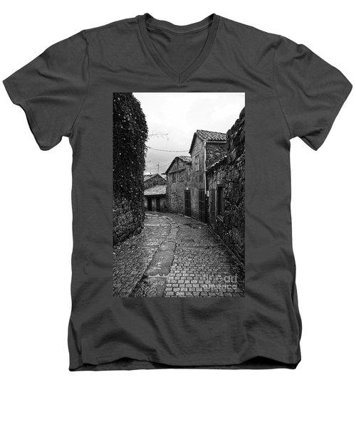 Ancient Street In Tui Bw Men's V-Neck T-Shirt