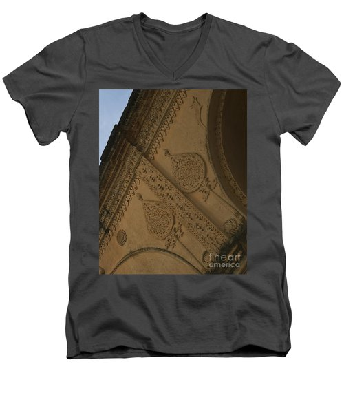 Men's V-Neck T-Shirt featuring the photograph Ancient Wall by Mini Arora