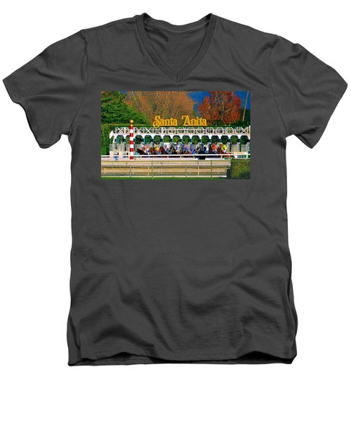 And They're Off At Santa Anita Men's V-Neck T-Shirt