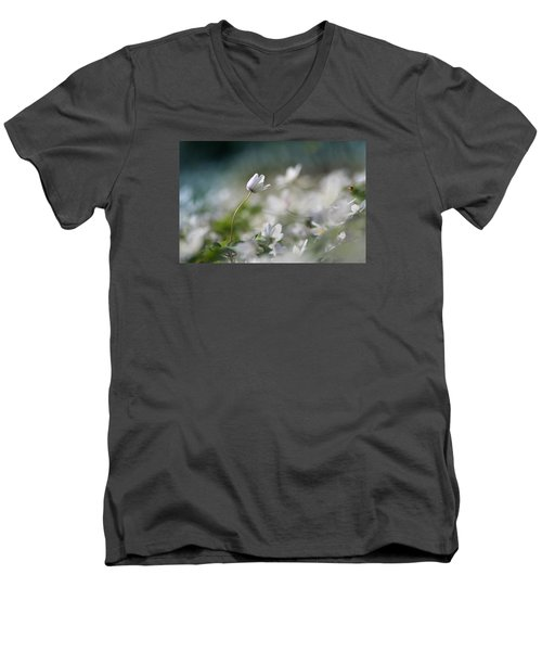 Men's V-Neck T-Shirt featuring the photograph Anemone Flower by Dreamland Media