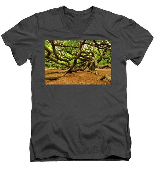 Angel Oak Tree Branches Men's V-Neck T-Shirt