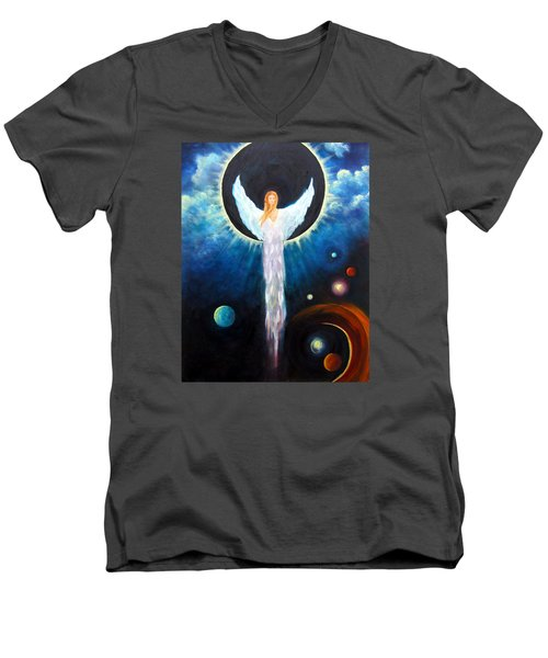 Angel Of The Eclipse Men's V-Neck T-Shirt by Marina Petro