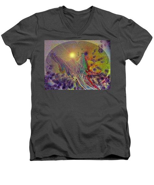 Angel Taking Flight Men's V-Neck T-Shirt by Alison Caltrider