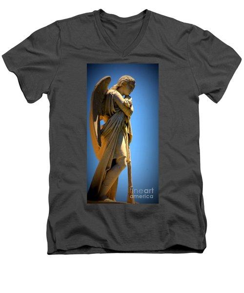 Angel Watching Men's V-Neck T-Shirt