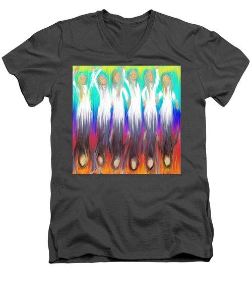 Angels 3 26 2014 Men's V-Neck T-Shirt by Hidden  Mountain