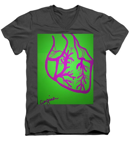 Men's V-Neck T-Shirt featuring the digital art Angina by Erika Chamberlin