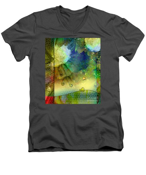 Men's V-Neck T-Shirt featuring the painting Angiospermae by Allison Ashton