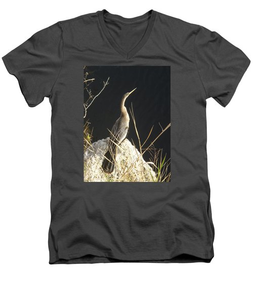 Men's V-Neck T-Shirt featuring the photograph Anhinga by Robert Nickologianis
