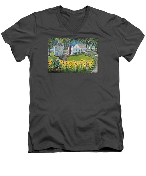 Men's V-Neck T-Shirt featuring the painting Annie's Summer Cottage by Rita Brown