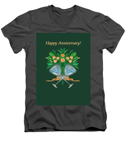 Men's V-Neck T-Shirt featuring the digital art Anniversary Bouquet by Christine Fournier