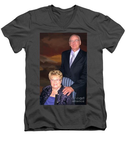Men's V-Neck T-Shirt featuring the painting Anniversary Portrait by Tim Gilliland