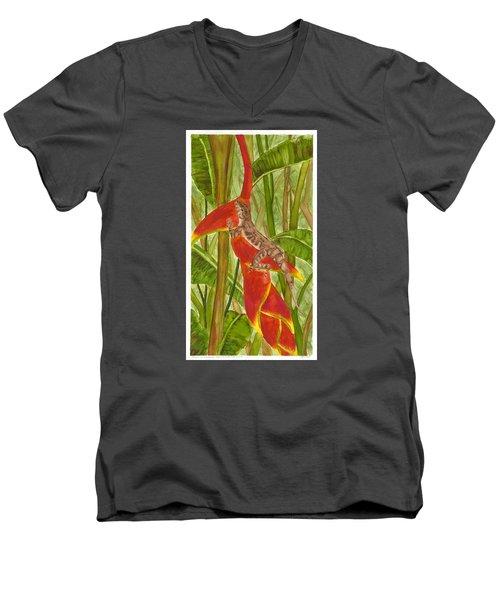 Anolis Humilis Men's V-Neck T-Shirt by Cindy Hitchcock