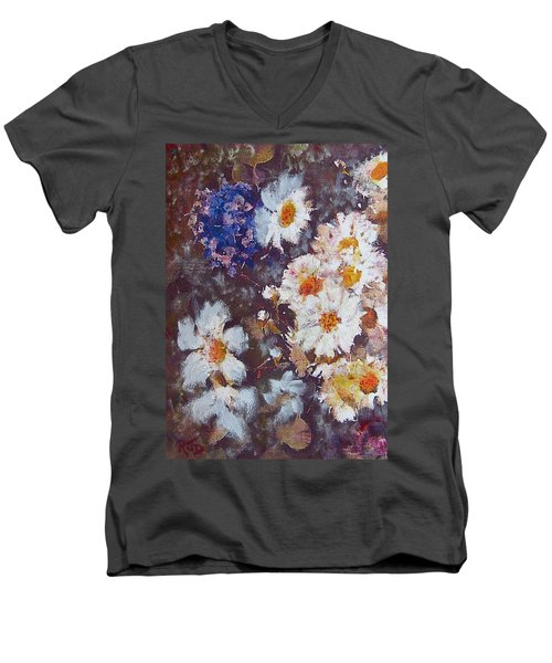 Men's V-Neck T-Shirt featuring the painting Another Cluster Of Daisies by Richard James Digance