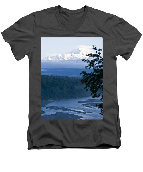 Another Denali View  Men's V-Neck T-Shirt by Tara Lynn
