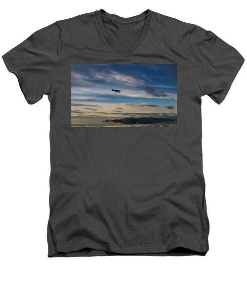 Men's V-Neck T-Shirt featuring the photograph Antelope Island - Lone Airplane by Ely Arsha