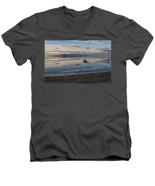 Men's V-Neck T-Shirt featuring the photograph Antelope Island - Lone Tumble Weed by Ely Arsha