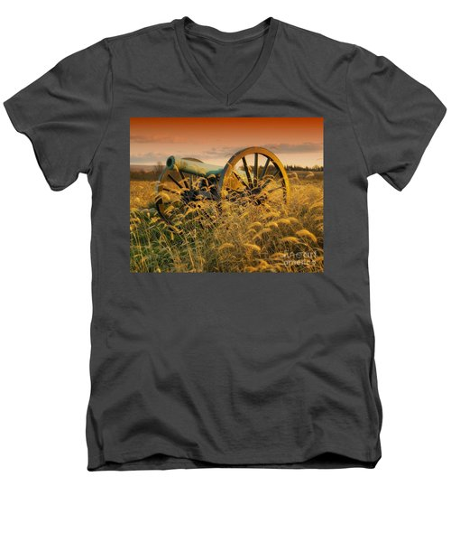 Men's V-Neck T-Shirt featuring the photograph Antietam Maryland Cannon Battlefield Landscape by Paul Fearn