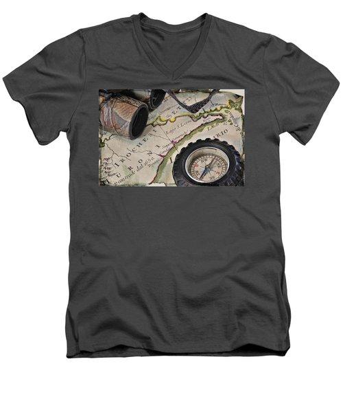 Antique Italian Map Upstate New York Men's V-Neck T-Shirt