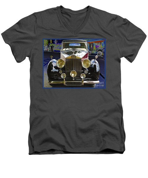 Men's V-Neck T-Shirt featuring the digital art Antique Rolls Royce by Victoria Harrington