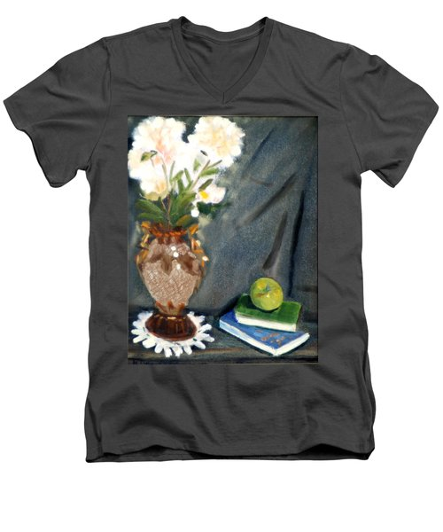 Men's V-Neck T-Shirt featuring the painting Antique Vase And Flower by Michael Daniels