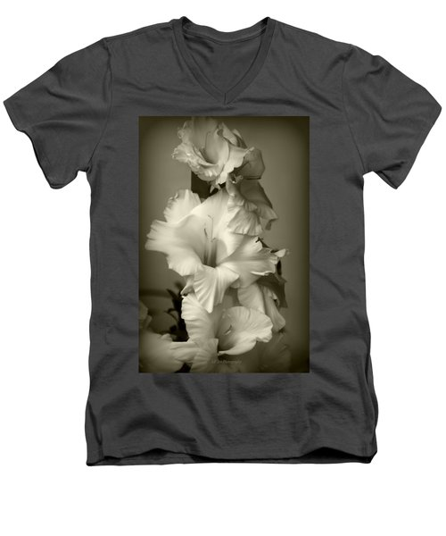 Antiqued Gladiolus Men's V-Neck T-Shirt by Jeanette C Landstrom