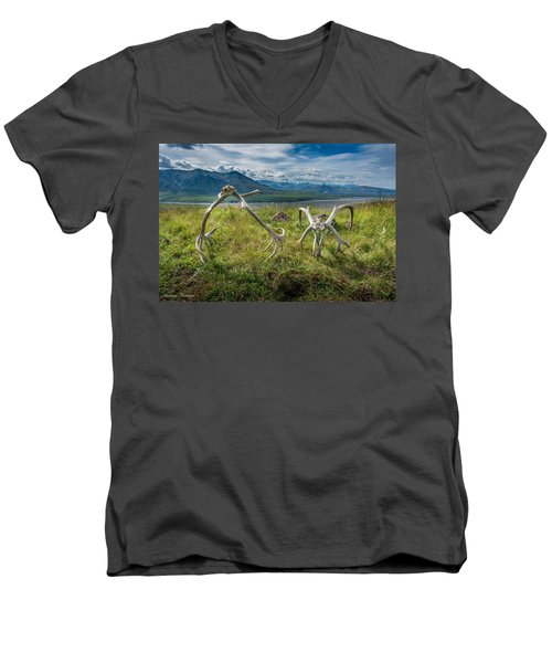 Antlers On The Hill Men's V-Neck T-Shirt by Andrew Matwijec