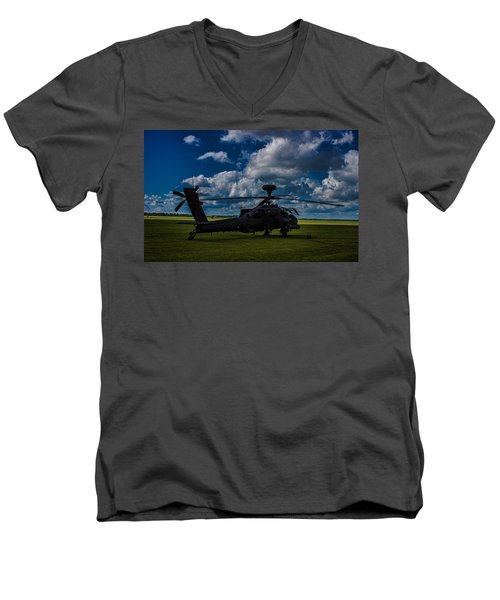Apache Gun Ship Men's V-Neck T-Shirt by Martin Newman