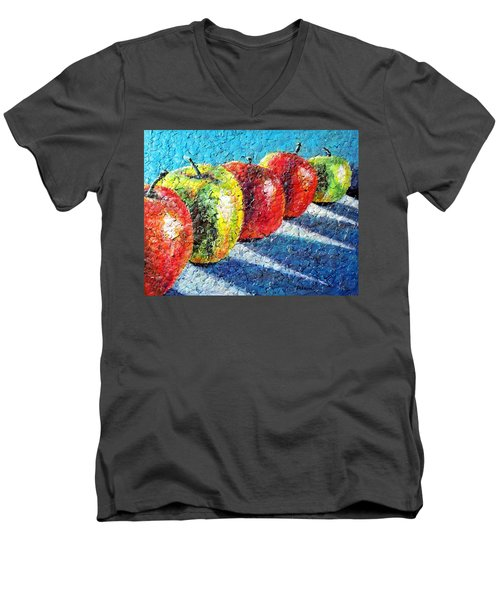 Men's V-Neck T-Shirt featuring the painting Apple A Day by Susan DeLain