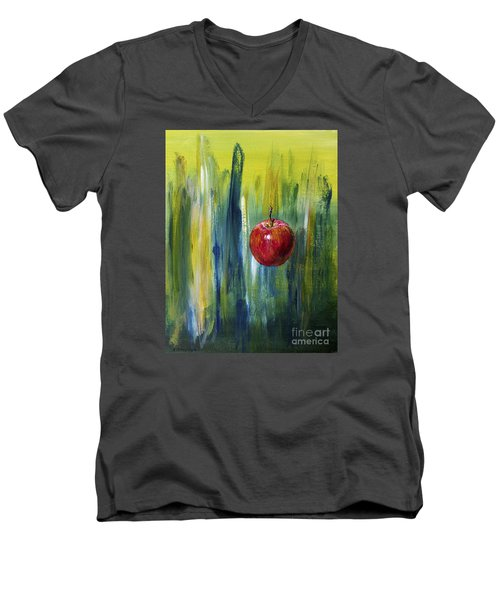 Apple Men's V-Neck T-Shirt by Arturas Slapsys