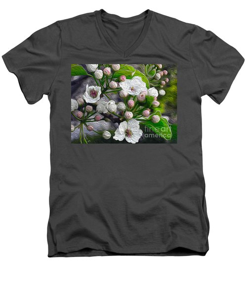 Men's V-Neck T-Shirt featuring the photograph Apple Blossoms In Oil by Nina Silver