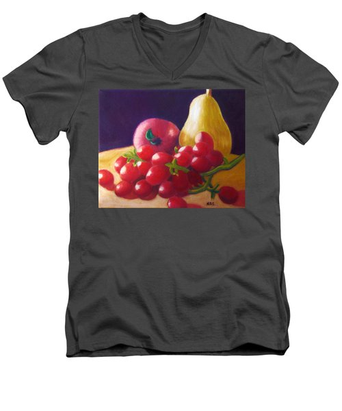 Apple Pear Grapes Men's V-Neck T-Shirt