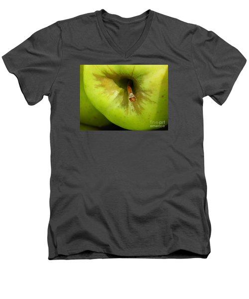 Apple Men's V-Neck T-Shirt by Sarah Loft