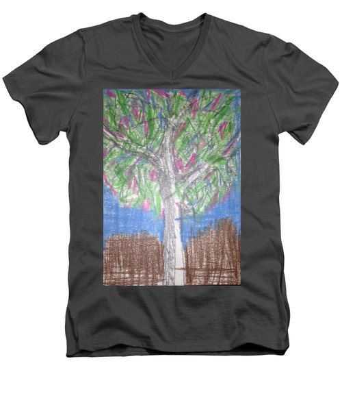 Apple Tree Men's V-Neck T-Shirt by Erika Chamberlin