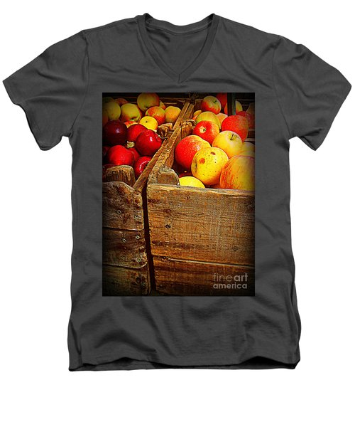 Men's V-Neck T-Shirt featuring the photograph Apples In Old Bin by Miriam Danar