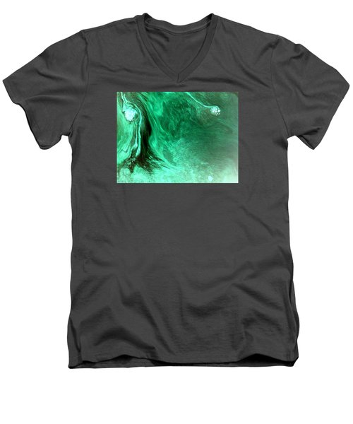 Aqua Tree Men's V-Neck T-Shirt by Salman Ravish