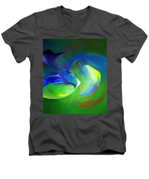 Men's V-Neck T-Shirt featuring the digital art Aquatic Illusions by David Lane