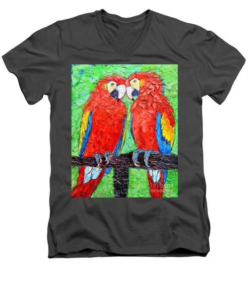 Ara Love A Moment Of Tenderness Between Two Scarlet Macaw Parrots Men's V-Neck T-Shirt