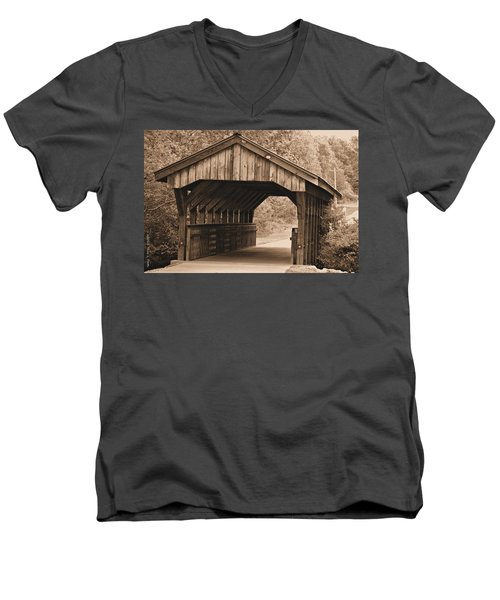 Arabia Mountain Covered Bridge Men's V-Neck T-Shirt by Tara Potts