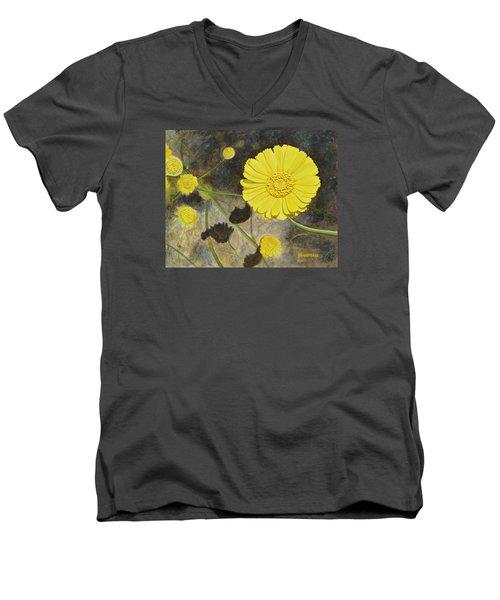 Arboretum Wild Flower  Men's V-Neck T-Shirt by Donna  Manaraze